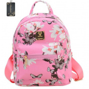 Donalworld Girl Floral Casual Flower Print PU Leather Women Backpacks School Bags Pink