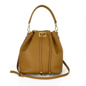 Genuine Leather Bucket Handbag With Drawstring Closure Colour Cognac - Leather Goods Made In Italy - Woman Bag