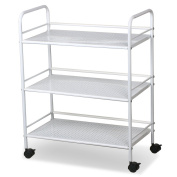 tinkertonk 3 Shelf Large Beauty Salon Trolley Cart Spa Storage Tray Therapy Dentist Hairdresser Treatments, White