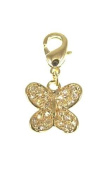 Kala-isbijoux Ladies'Butterfly Charm Gold Plated 750/1000/5 Microns/10-Year Guarantee and Zirconium Oxide Height 2.2 cm for Women