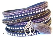 Lapeach Fashions Brand New Gorgeous Multi Layered Tassel Slake Bracelet Suede Wrap Bracelet Rhinestone Wrist Bracelet Tassel Charm Bracelet