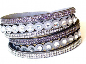 Lapeach Fashions Latest Gorgeous Crystal Dotted Multi Layered Slake Bracelet Suede Wrap Bracelet Wrist Bracelet Cuff Bracelet Ltgrey