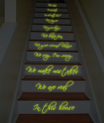 ( 79x140 cm ) Glowing Vinyl Stairs Decal Quote In this House We Are Family We Do Love / Glow in Dark Home Family Luminescent Sticker + Free Decal Gift!