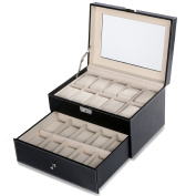 Homdox Black Leather Glass Top Watch Case Display Storage Box Chest Holds 20 Watches