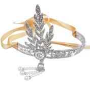 Art Deco 1920's Flapper Great Gatsby Inspired Leaf Medallion Pearl Headpiece Wedding Tiara Headband