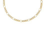 Figaro Necklace Real Alternating 1 + 3 - Gold Yellow - Mens