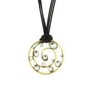 Black Cords Necklace with Crystals 5497