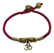 AG2AU OM (AUM) Charm Bracelet with Brass and Waxed Cotton