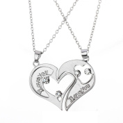 "Bling Stars 2pcs His and Hers Heart-shape ""I Love You"" Stainless Steel Couple Pendant Necklace"