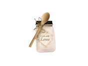 Cook with Love Ceramic Kitchen Canning Jar Shaped Spoon Holder With Wooden Spoon