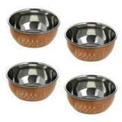 RoyaltyRoute Set of 4 Copper Stainless Steel Small Tableware Utensils Dishware Serving Pieces Dessert Bowls