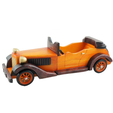 Cosette Vintage Collect Handmade Realistic Classic Orange Wooden Cabriolet Car Model Toy Decor Gift