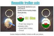 Wales / Welsh Flag - Dragon Design on Metal Keyring - Token