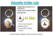 Palestine Will Be Free - Political Stylized Text Design on Shopping Trolley Keyring - Token