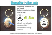 I'm The Boss - Stylized Text Design on Shopping Trolley Keyring - Token