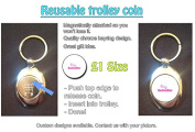 Fairy Godmother - Pretty Pink Stylized Text Design on Shopping Trolley Keyring - Token