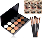 Start makers® 15 Colours Eye Shadow Eyeshadow Palette - Matte & Shimmer Eyeshadow - Natural Pigment Eye Contour Palette - Smokey Series Eyeshadow Pallet with 6 pcs Wooden Professional Eye Brushes