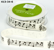 Music Notes Vintage Print 100% cotton 20mm May Arts Ribbon on a 3m Length