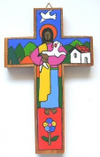 Latin American Cross. 25 cms Painted by hand Cross. Wooden Cross. Classroom Cross. Wood Cross