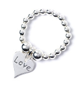 Sterling Silver 'Rice & Noodle' Ball Bead Ring with Love Heart Charm