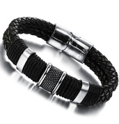 Ostan Men's Elegant Stainless Steel and Leather Rope Braided Bracelet for Men