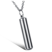 HooAMI Stainless Steel Cylinder Urn Pendant Necklace - Memorial Ash Keepsake - Cremation Jewellery