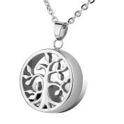Stainless Steel Tree of Life Charm Urn Pendant Necklace - Memorial Ash Keepsake