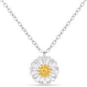 Sweetiee Unique Design 925 Sterling Silver Necklace, with Daisy Pendant, Silver, 400mm