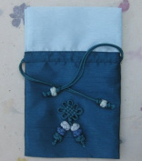 Silk jewellery pouch, travel jewellery bag with drawstring, hand knotted decoration. Blue.