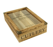 Vintage Style Wooden Cutlery Tray Glass Top