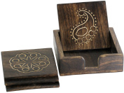 10.16 cm Elegant Drink Coaster with Holder Set of 4 Hand Carved Retro Wooden Square Centrepiece for Table Top / Dining / Kitchen Accessories