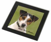 Jack Russell Terrier Dog Mum Sentiment Glass Coaster with Black Rim, Ref:AD-JR57lymGC