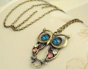 Multi-colour Rhinestones Owl Pendant Necklaces