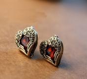 Antique Red Stone Heart Stud Earrings