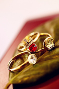 Golden Crown and Stones 3-ring Set