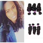 REINE Hair Brazilian Loose Wave Hair 3 Bundles Bundles Virgin Brazilian Loose Curl Hair Weft Natural Colour Raw Unprocessed Human Hair Extensions Can Be Dyed