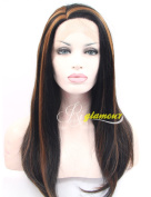 Riglamour Natural Straight Black Wigs with Highlights Heat Resistant 100% Fibre Hair Synthetic Lace Front Wig with Left Side Parting