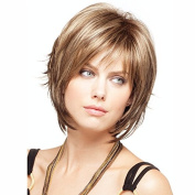 B-G Charming Wigs New Fashion Women Party Big Wavy Sexy Full Hair Wig Human Hair Natural Looking Golden Wigs + A Free Wig Cap WIG037