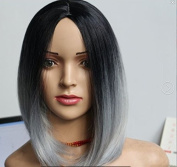 """17.7"""" 45cm Black to Grey Ombre Wig for Women Heat Resistant Full Bob Style Wig"""