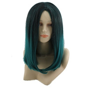 "17.7"" 45CM Women Girls Black with Green Medium Length Straight Wig Heat Resistant 2 Tone Wig"