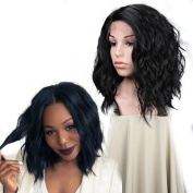 Wigshow Short Bob Natural Wave Synthetic Hair Wigs Darkest Brown Heat Resistant Lace Front Wigs For Black Women