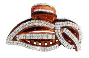 JCPeniel Elegant Style Large Size Fancy Rhinestones Claw Clip Jaw Clips Brown