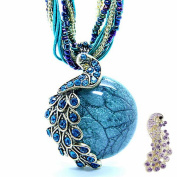 Birthday Gifts-Zonman® Two in One Pretty Jewellery Retro Bohemia Style Pendant Opal Phoenix Peacock Necklace Matching Hair Clip Gift Best Friend's Gifts