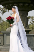 Bridal Wedding Veil Ivory 1 Tier Long Cathedral Length With Rhinestone Edge