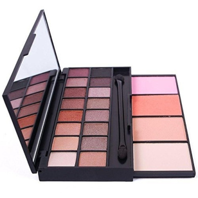Nude Mineral Eyeshadow Makeup Palette with Blush and Face Powder