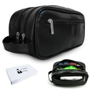 Leather Travel Toiletry Bag for Men or Women Waterproof. Travel Size Toiletries Bag Toilet Organiser Supply Two Zippered Compartments Perfect For Men's Travel Toiletry Bag Shaving Grooming Dopp Kit.