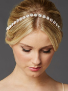 Mariell Rose Gold Bridal Headband with Genuine Preciosa Crystals in Unique Link Setting - Ivory Ribbons