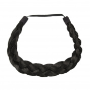 Milano Collection PREMIUM Braided Hairband 1.3cm Inch Thick - Black