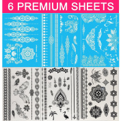 GIFT!!New Tastto 6 Sheets Henna Body Paints Temporary Tattoos White and Black Lace Stickers for Girls and Women with GIFT