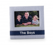 Mud Pie Baby Lil' Buddy Navy Blue Seersucker Fabric Photo Frame, The Boys